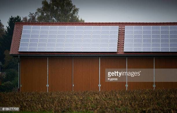 Europe, Germany, Bavaria, View Of Solar Panels On Barn Roof