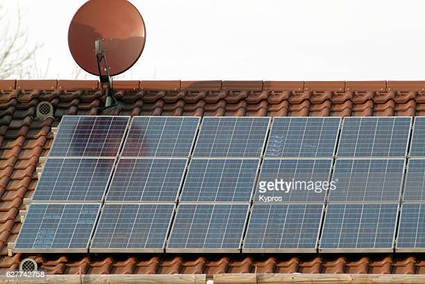 Europe, Germany, Bavaria, View Of Solar Panels On House Roof