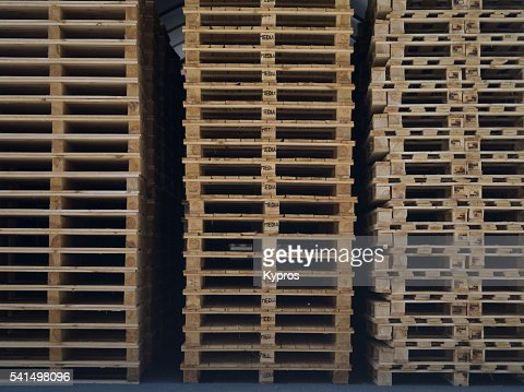 Europe, Germany, Bavaria, View Of Stack Of Wooden Pallets