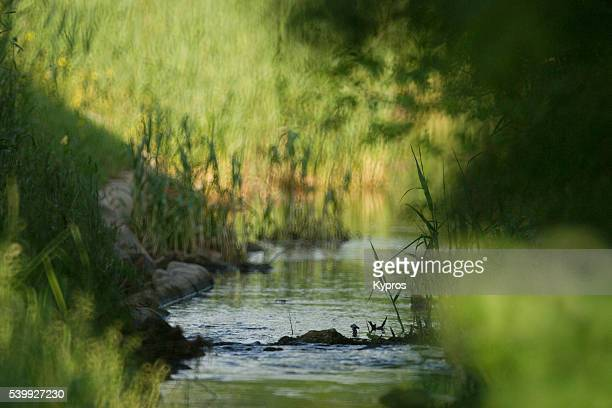 europe, germany, bavaria, view of stream created by, or part of drainage ditch on rural farmland - ditch stock photos and pictures