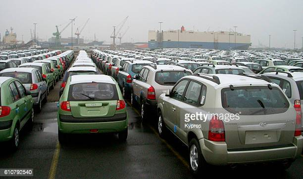 Europe, Germany, Bremerhaven, View Of Port With Thousands Of Imported Cars From Asia