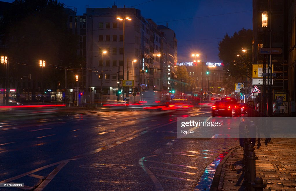 Europe, Germany, Frankfurt, View Of Cars And Traffic At Dawn : Stock Photo