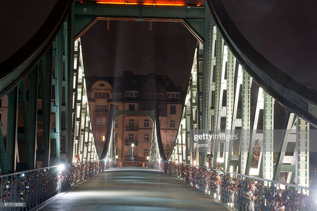Europe, Germany, Frankfurt, View Of Eiserner Steg Bridge AKA  Love Lock Bridge And Padlock Bridge : Stock Photo