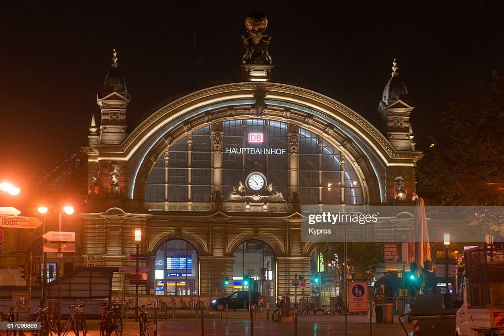 Europe, Germany, Frankfurt, View Of Hauptbahnhof (Main Train Station Or Central Station) At Night : Stock Photo