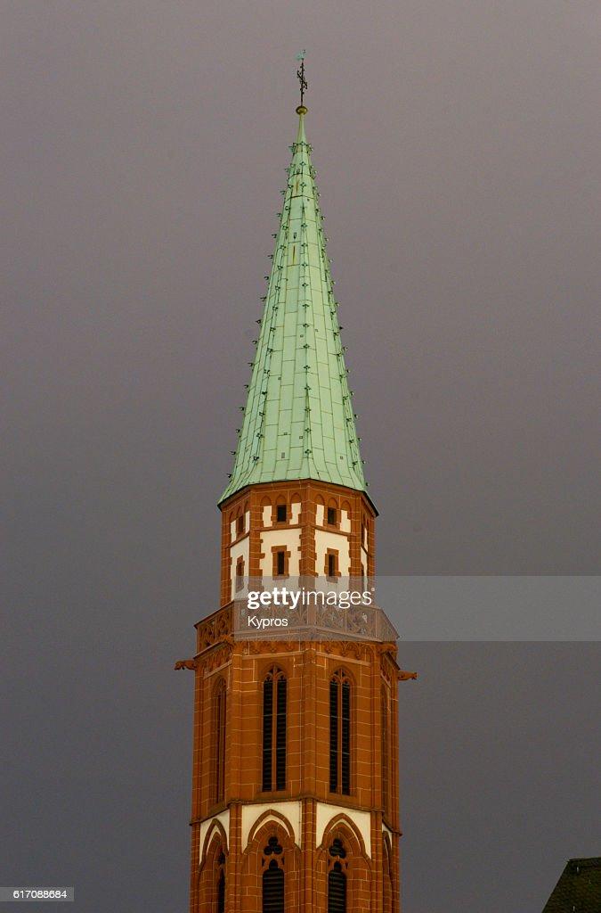 Europe, Germany, Frankfurt, View Of Old Nicholas Church (Alte Nikolaikirche) : Stock Photo