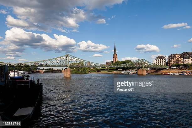 Europe, Germany, Hesse, Frankfurt, View of Eiserner Steg with city in background