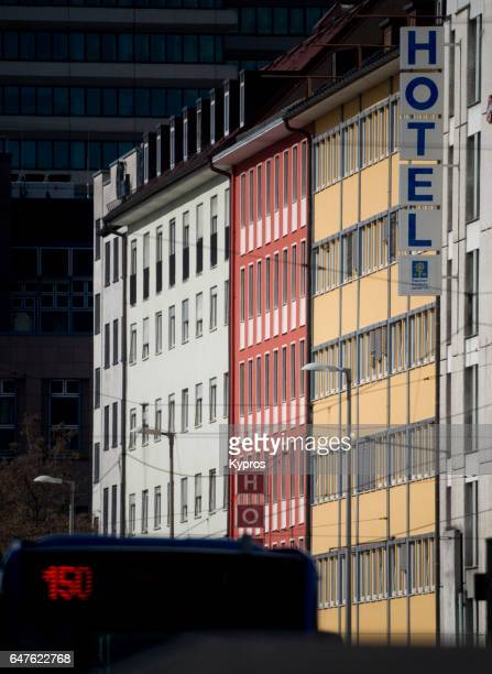 Europe, Germany, Munich, View Of Hotel, Apartment Buildings And/Or Offices