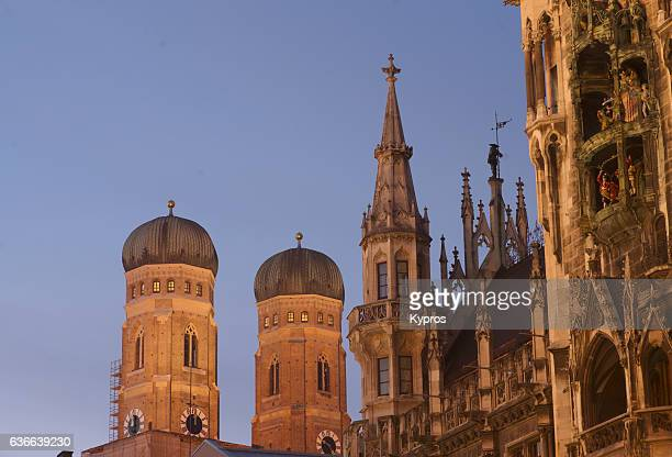 Europe, Germany, Munich, View Of Old Town Hall And Church Of Our Lady (German: Dom Zu Unserer Lieben Frau) Also Called Cathedral Of Saint Mary And Liebfrauenkirche Or Frauenkirche. Construction Started Year 1240