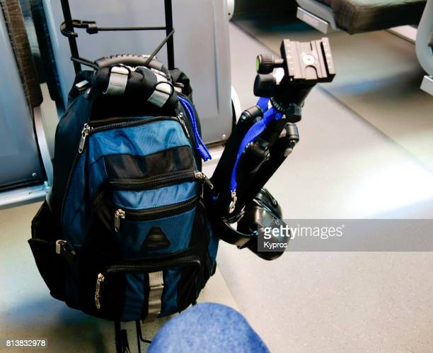 Europe, Germany, Munich, View Of Rolling Rucksack Luggage With Travel Tripod