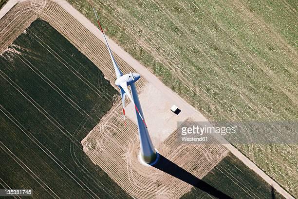 europe, germany, north rhine westfalia, aerial view of wind wheel - north rhine westphalia - fotografias e filmes do acervo