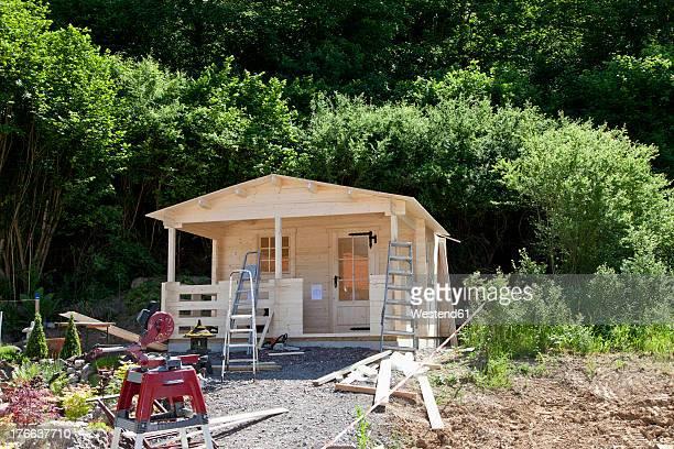 Europe, Germany, Rhineland Palatinate, Construction of garden shed