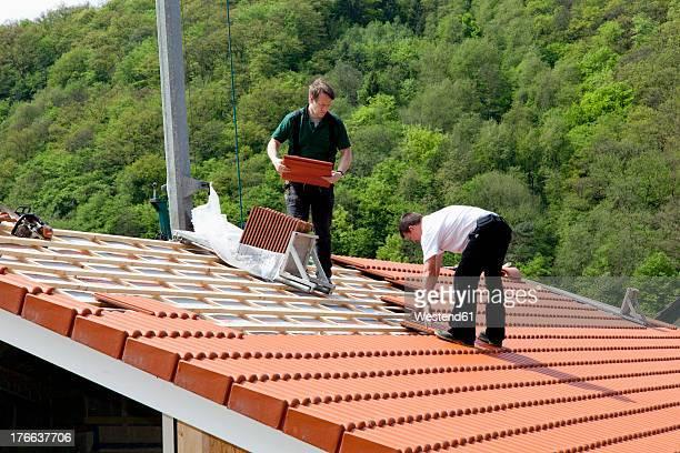 Europe, Germany, Rhineland Palatinate,  Construction of house roof