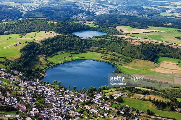 Europe, Germany, Rhineland Palatinate, View of Schalkenmehrener Maar