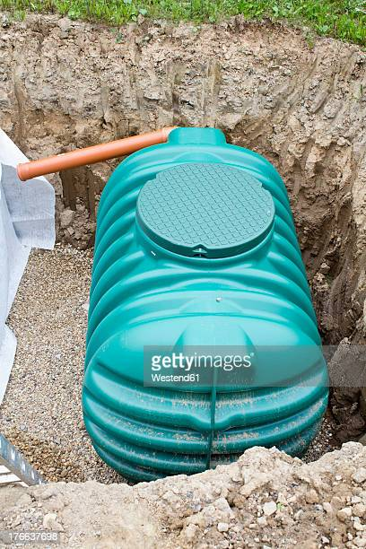 europe, germany, rhineland palatinate, water tank in underground for house building - water tower storage tank stock pictures, royalty-free photos & images