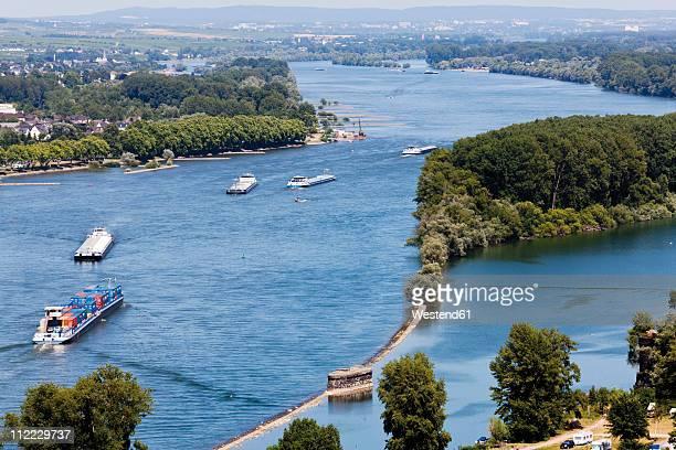 Europe, Germany, Rhineland-Palatinate, View of cargo ships in sea
