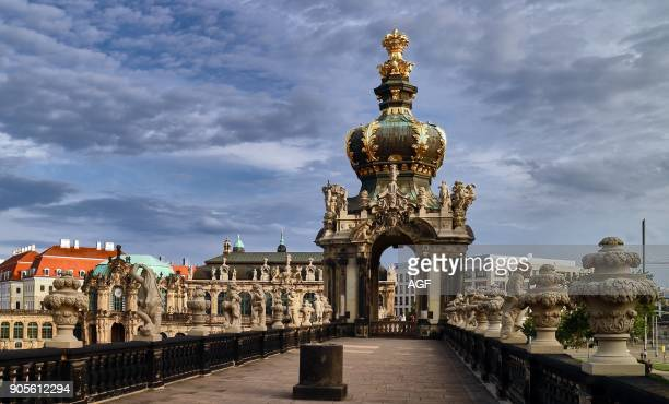 Europe Germany Saxony Dresden city the old town Kronentor Crown Gate Zwinge The Zwinger is an 18th century baroque palace which houses several noted...