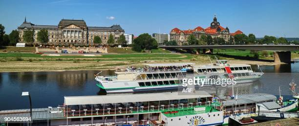 Europe Germany Saxony Dresden City The River Elbe and The Ministry of Finance