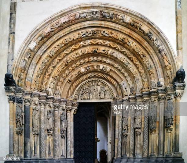 Europe Germany Saxony Freiberg The Old Town The Cathedral Stmary of Style Flamboyant Gothic Was Set Up Between 1490 And 1501 A Main Entrance With...