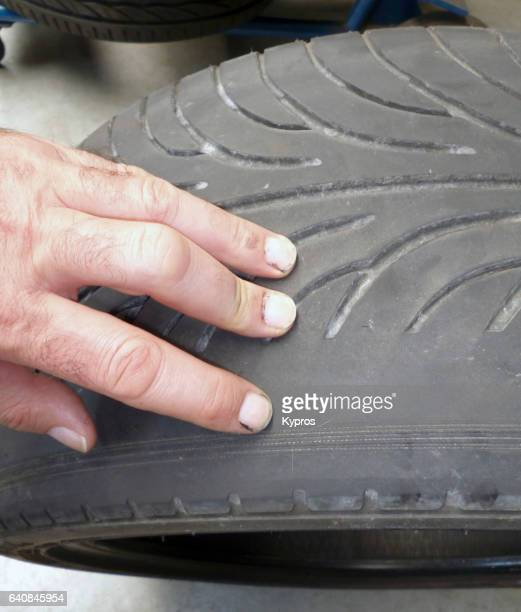 Europe, Germany, View Of Bald Car Tyre, Uneven Wear Due To Tracking Problem