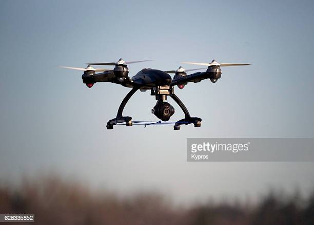 europe, germany, view of drone with camera flying, airborne - drone stock pictures, royalty-free photos & images