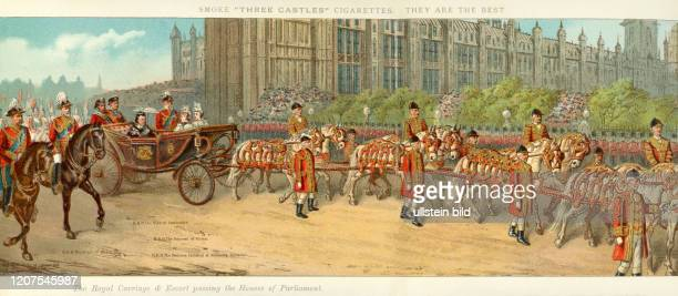 Europe Great Britain London Diamond Jubilee Queen Victoria original text The Royal Carriage and Escord passing the Houses of Parliament image from...