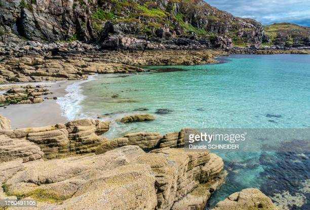europe, great britain, scotland, hebrides, south-east of the isle of skye, turquoise sea at point of sleat - hebriden inselgruppe stock-fotos und bilder