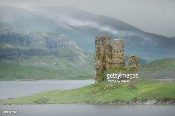 Europe Great Britain United Kingdom Scotland Lochinver Loch Assynt Ardvreck Castle