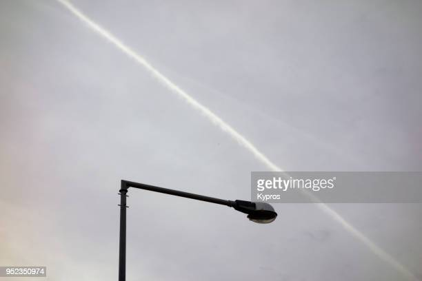 Europe, Greece, 2018: View Of Chemtrails Or Skytrails (Depending On Your Point Of View And Knowledge)