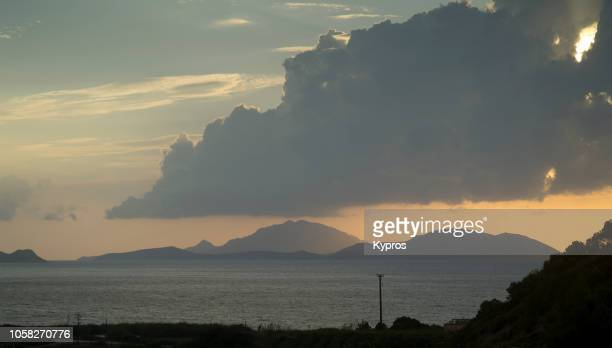 europe, greece, 2018: view of greek islands seascape - seascape stock-fotos und bilder