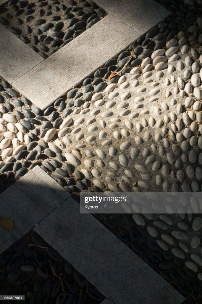 Europe, Greece, 2018: View Of Hand-Made Mosaic Pavement Made From Bach Pebbles : Stock-Foto