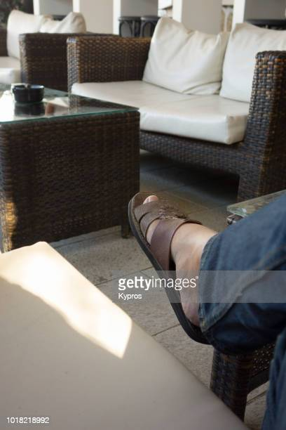 Europe, Greece, 2018: View Of Man Wearing Custom Made Leather Sandals (Camel Skin, North African)