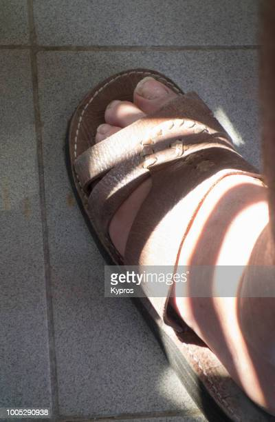 Europe, Greece, 2018: View Of 'n Man Wearing Leather Sandals (Camel Skin, North African)