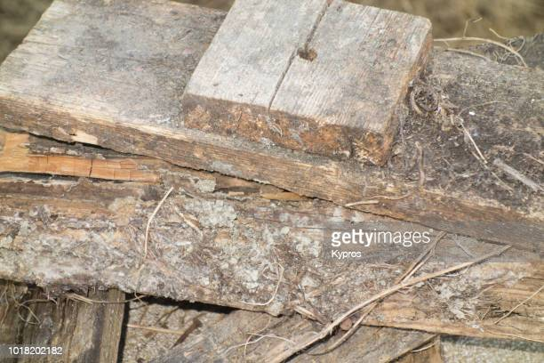 europe, greece, 2018: view of old rotting wood - water damaged, wood rot - disintegration stock photos and pictures