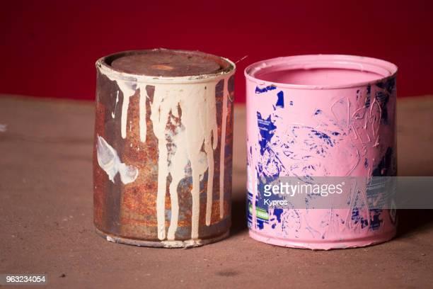 europe, greece, 2018: view of paint can - farbeimer stock-fotos und bilder