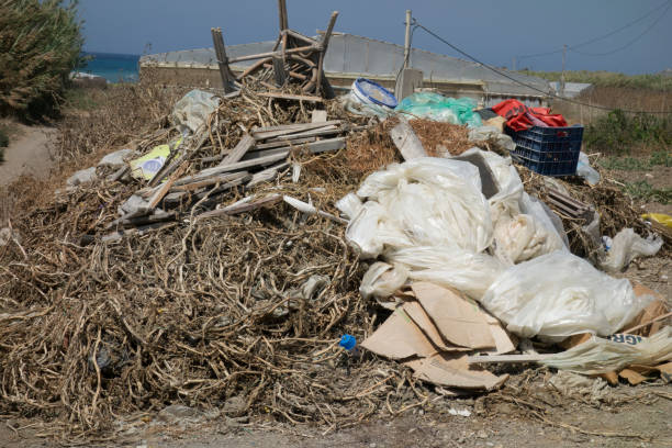 Europe, Greece, 2018: View Of Plastic On A Greek Beach (Natural State, Not Cleaned For Tourists). 6 Billion Tons Of Plastic Has Been Discarded Into The Global Environment Since The 1950s. Some Plastics And Aluminum Take Hundreds Of Years To Degrade.
