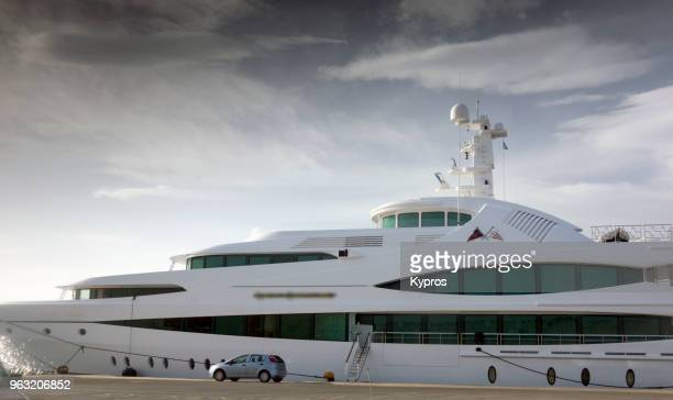 europe, greece, 2018: view of super yacht docked at rhodes port - luxury yacht stock pictures, royalty-free photos & images