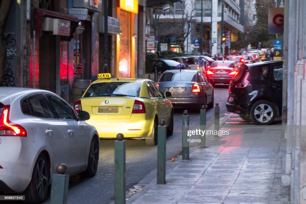 Europe, Greece, 2018: View Of Traffic Jam On Narrow Road : Stock-Foto