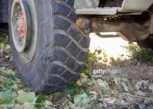 Europe, Greece, 2018: View Of Truck Tyre (Military 4x4 Type) Tread