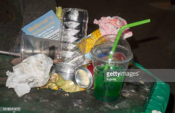 europe, greece, 2018: view of waste disposal - disposable stock photos and pictures