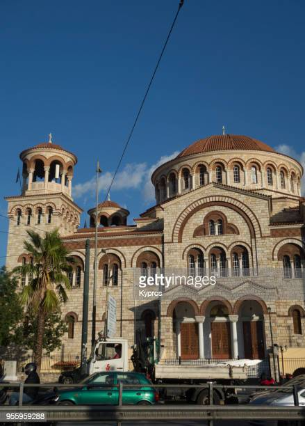 europe, greece, athens area, piraeus port, 2017: view of church - greek orthodoxy stock pictures, royalty-free photos & images