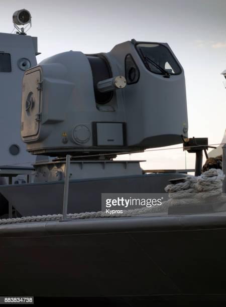 europe, greece, athens area, piraeus port, 2017: view of greek naval battleship docked at port - battleship stock pictures, royalty-free photos & images