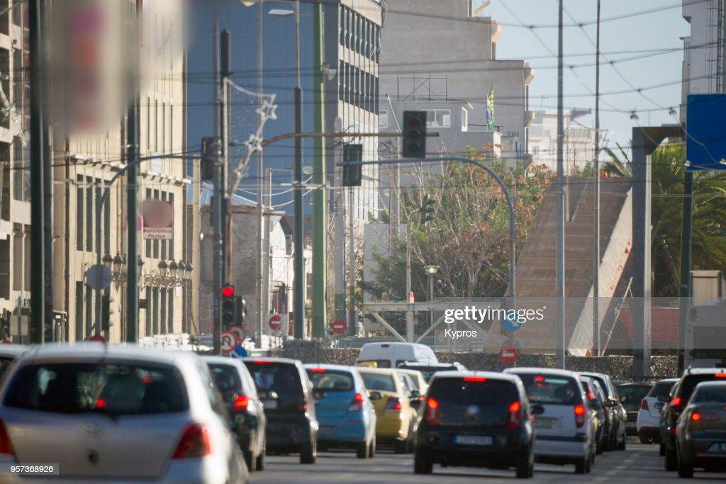 Europe, Greece, Athens Area, Piraeus Port, 2017: View Of Traffic Jam On Main Road : Stock Photo