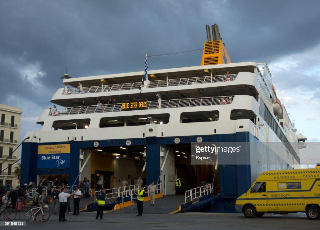 9f1f021ae84b Europe Greece Athens Area Piraeus View Of Ferry Boat Stock Photo ...