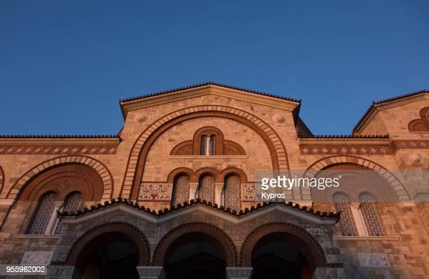 europe, greece, athens, piraeus area, 2018: view of church - piraeus stock photos and pictures