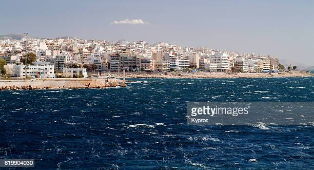 europe, greece, athens, piraeus, coastal view of architecture and buildings - piraeus stock pictures, royalty-free photos & images