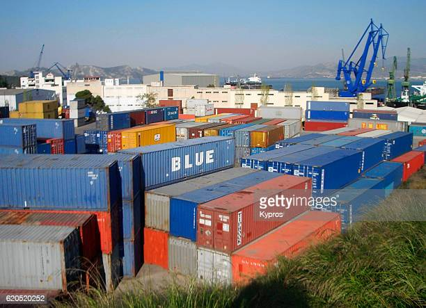 Europe, Greece, Athens, View Of Steel Shipping Cargo Container Yard 'n