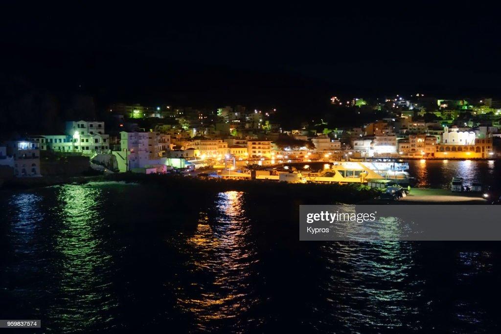 Europe, Greece, Chalki, 2018: View Of Chalki Port At Night : Stock-Foto