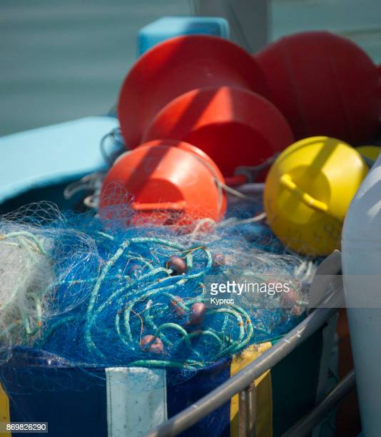 Europe, Greece, Cyprus, Agia Napa Area, 2017, View Of Fishing Net On Trawler At Port