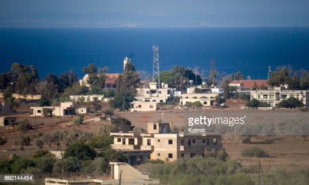 2017 - europe, greece, cyprus, famagusta varosha area, view of varosha ghost town - varosha cyprus stock-fotos und bilder