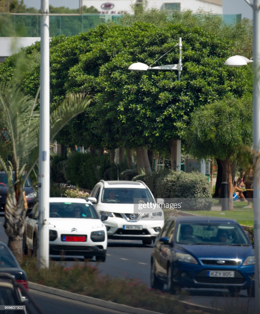 Europe, Greece, Cyprus, Limassol Area, 2017: View Of Cars Driving On Main Road : Stock-Foto
